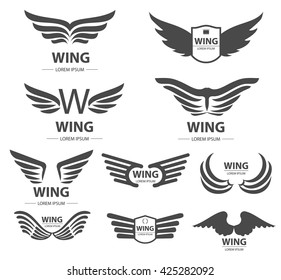 Wings logo or design elements set. Winged frame, emblems, icons. Angel and phoenix wings, bird and falcon wing.  Can be used for web design, ad, branding