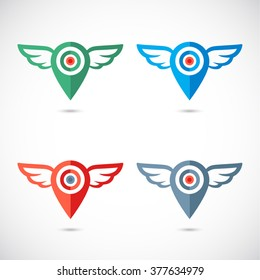 Wings logo geo pin. Colorful  set of geolocation icons with wings.  Navigation signs set.