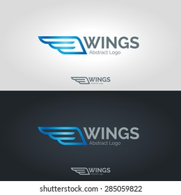 Wings logo template. Vector business icon