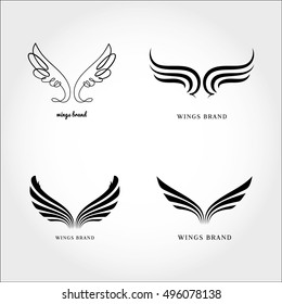 Wings logo vector  ( icon, sign, graphic, illustration, symbol).