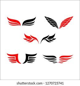 Wings logo vector set. Vintage and hipster design
