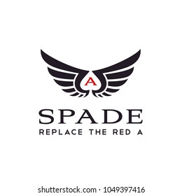 Wings with negative space for Spade Ace logo design inspiration