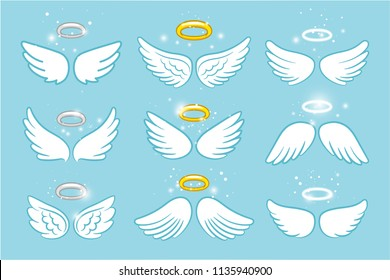 Wings and nimbus. Angel winged glory halo cute cartoon drawings vector illustration on blue background