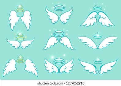 Wings and nimbus set. Angel winged glory halo cartoon drawings. Vector illustration.