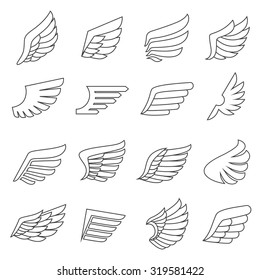 Wings outline gray icons vector set. Modern minimalistic design.