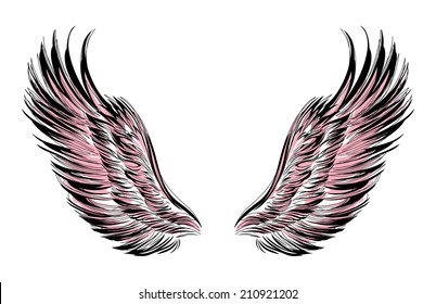 Wings outlined in black on a white background