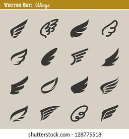 Wings. Set of design elements. Vector illustration.