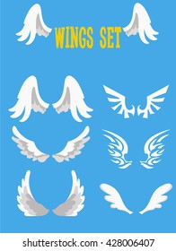 Wings set on blue background. Heraldic wings. Element for logo, label and emblems design. Vector illustration.