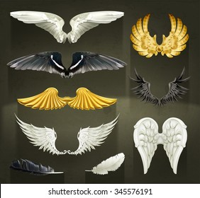 Wings, set vector illustrations on black background
