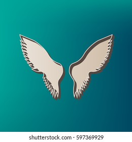 Wings sign illustration. Vector. Icon printed at 3d on sea color background.