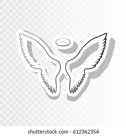 Wings sign illustration. Vector. New year blackish icon on transparent background with transition.