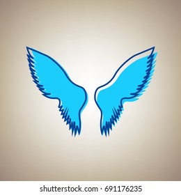 Wings sign illustration. Vector. Sky blue icon with defected blue contour on beige background.