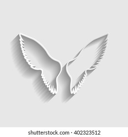 Wings sign. Paper style icon with shadow on gray.