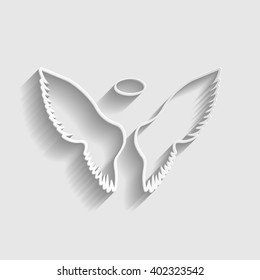 Wings sign. Paper style icon with shadow on gray