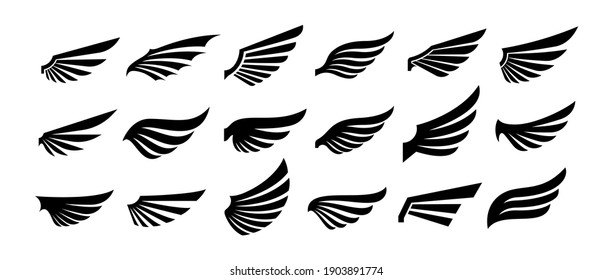 Wings silhouette icons set. Wings badges. Vector concept for logo or emblem design.