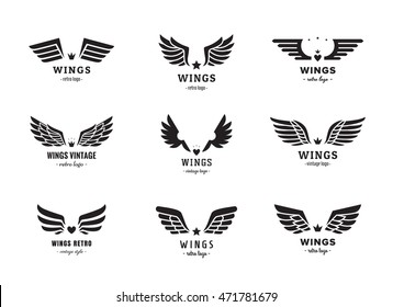 Wings silhouette logo vector set. Vintage and hipster design. Part one.