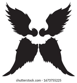 Wings Silhouettes Drawing Black & White Vector Set 4