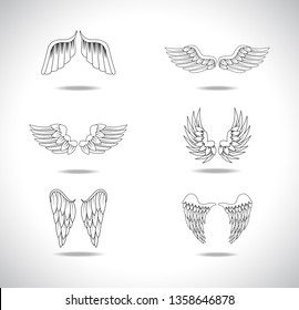 Wings Sketch Set Isolated On Gray Background. Collection Of Hand Drawn Angel Wings. Abstract Doodle Vector Illustration, Graphic Design. For Logo, Icon, Tattoo Templates, Emblem, Label And Art Design