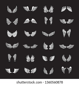 Wings Sketch Set Isolated On Black Background. Collection Of Hand Drawn Angel Wings. Abstract Doodle Vector Illustration, Graphic Design. For Logo, Icon, Tattoo Templates, Emblem, Label And Art Design