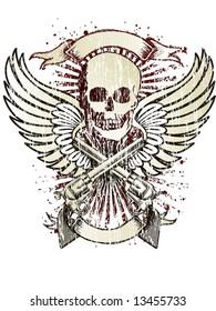 wings skull emblem