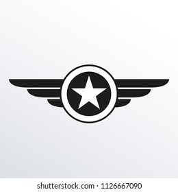 Wings with star icon. Winged logo template.  Air force badge, army, military and aviation emblem. Vector illustration.
