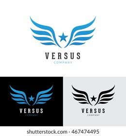 Wings star logo template.
