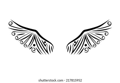 Wings tattoo. EPS10 vector