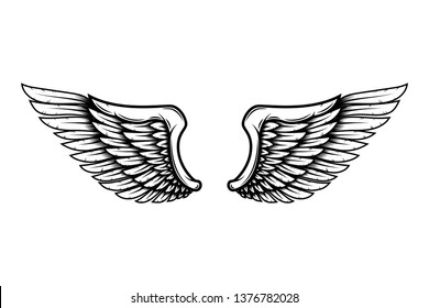 Wings in tattoo style isolated on white background. Design element for poster, t shit, card, emblem, sign, badge. Vector illustration