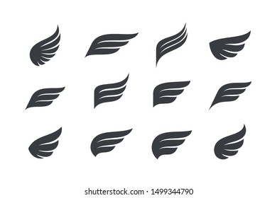 Wings vector Collection. Eagle bird heraldic flying Falcon Phoenix Hawk logo.