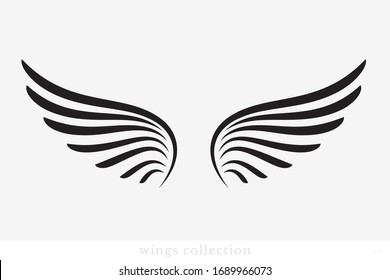 Wings Vector Collection. Simple Wing Silhouette for Heraldry, Tattoo, Logo or Other Symbols