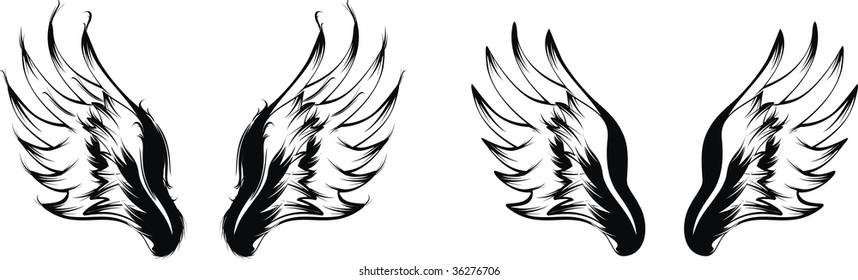 wings in vector format very easy to edit