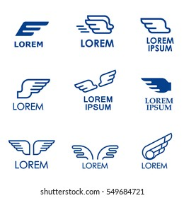 Wings vector icons set. Wing set, icon wing, feather wing bird illustration.For Banners, Presentations, Web Pages, Logo