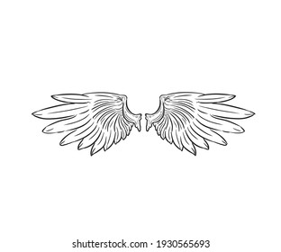 Wings vector illustration black and white icon simple design print ready