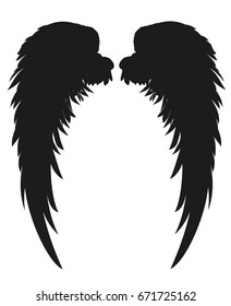 Wings. Vector illustration on white background. Black and white style.