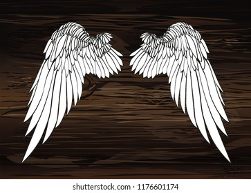 Wings. Vector illustration on wooden background. Black and white style.