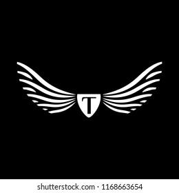 Wings vector logo . Wings emblem letter T
