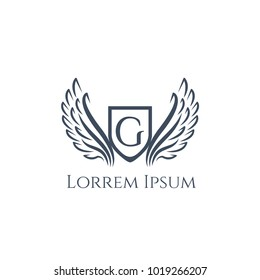 Wings vector logo letter G. Wing icon. Flying emblem. Luxury monogram