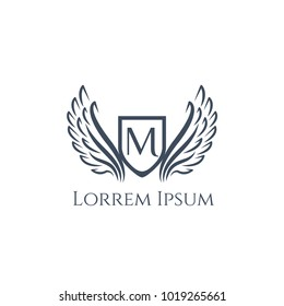 Wings vector logo letter R. Wing icon. Flying emblem. Luxury monogram