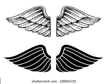Wings Vintage and Graphic Style is an illustration of wings in two types. One is a vintage style and the other is a graphic style.