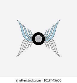 Wings with wheel vector logo