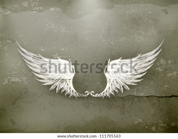 Wings white, old-style vector