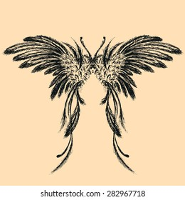 Wings,hand drawing, vector illustration