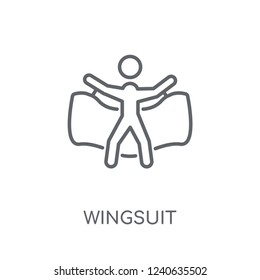 Wingsuit linear icon. Modern outline Wingsuit logo concept on white background from camping collection. Suitable for use on web apps, mobile apps and print media.