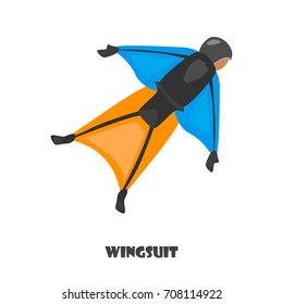 Wingsuit man color illustration isolated on white