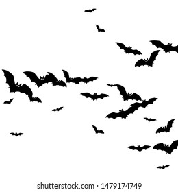 Wingy black bats flock isolated on white vector Halloween background. Rearmouse night creatures illustration. Silhouettes of flying bats traditional Halloween symbols on white.