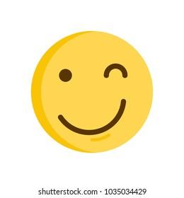 Wink Emoticon. Emoji smiley vector icon