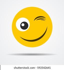 Wink emoticon in a flat design