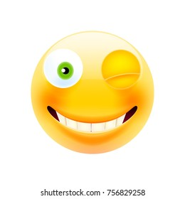 Wink Face Emoji. Happy Emoticon. Winking Emoticon. Smile icon. Isolated Vector Illustration on White Background