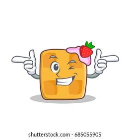 Wink face waffle character cartoon design