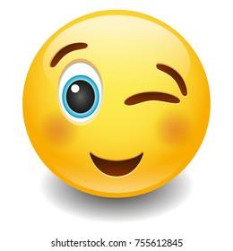 Wink Happy Expression Emoji Smiley Face Vector Design Art